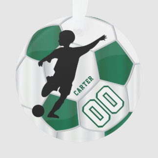 Dark Green and White Personalize Boy Soccer Player Ornament