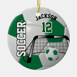 Dark Green and White Personalize Soccer Ball Christmas Ornament