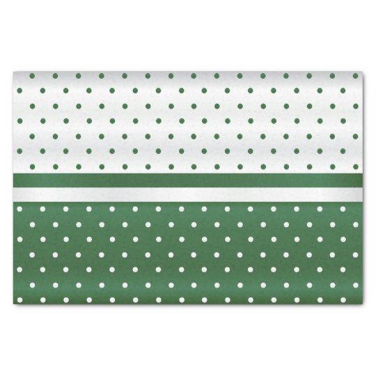 Dark Green and White Polka Dots Design Tissue