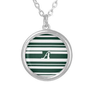 Dark Green and White Random Stripes Monogram Necklaces