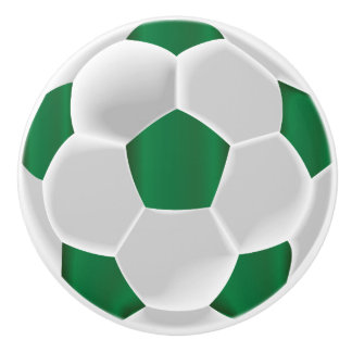 Dark Green and White Soccer Ball / Football Ceramic Knob