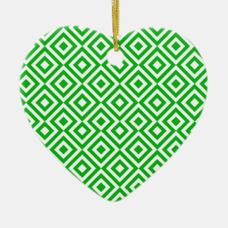 Dark Green And White Square 001 Pattern Ceramic Heart Decoration