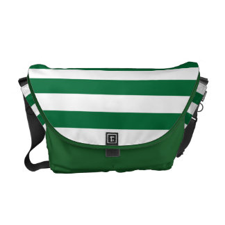 Dark Green and White Stripe Pattern Commuter Bag