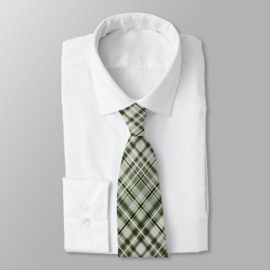 Dark green and white tartan plaid tie