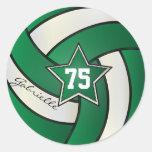 Dark Green and White Volleyball | DIY Text Round Sticker