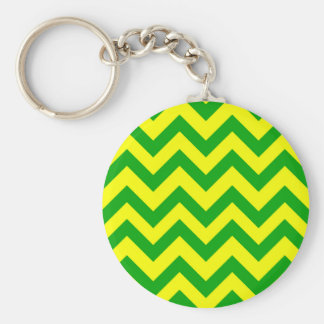 Dark Green And Yellow Chevron Basic Round Button Key Ring