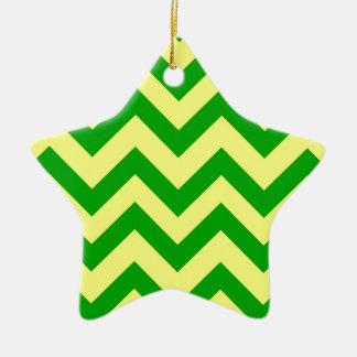 Dark Green And Yellow Chevron Christmas Ornament