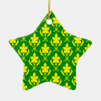 Dark Green And Yellow Ornate Wallpaper Pattern Christmas Ornament