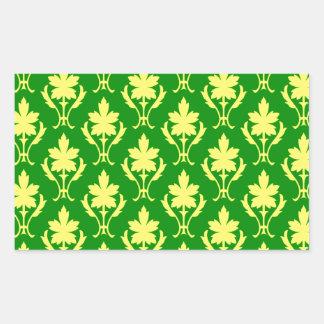 Dark Green And Yellow Ornate Wallpaper Pattern Rectangular Sticker