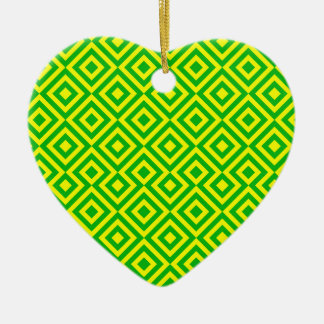 Dark Green And Yellow Square 001 Pattern Ceramic Heart Decoration
