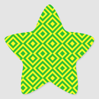 Dark Green And Yellow Square 001 Pattern Star Sticker