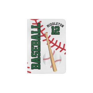 Dark Green Baseball Design   Personalize Passport Holder
