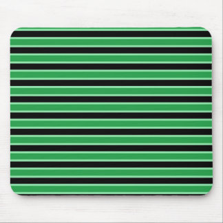 Dark Green, Black and Pastel Green Stripes Mouse Pad