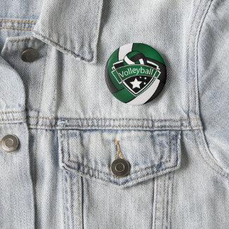 Dark Green, Black and White Volleyball 6 Cm Round Badge