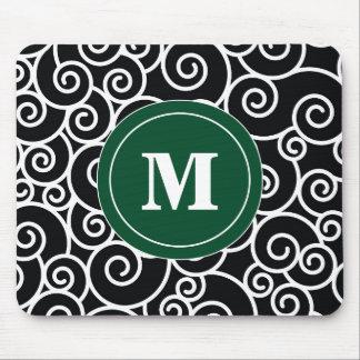 Dark Green Black Swirl Monogram Mouse Pad. Mouse Pad