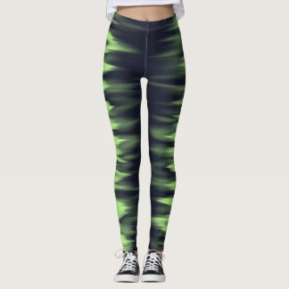 Dark green blue electric lightning effect leggings