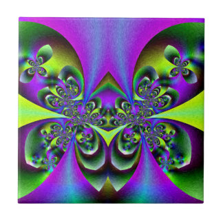 Dark green butterflies small square tile