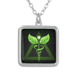 Dark Green Caduceus Alternative Medicine Emblem Silver Plated Necklace
