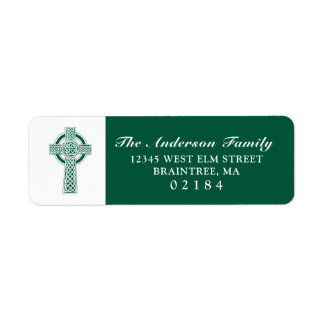 Dark Green Celtic Cross with Return Address