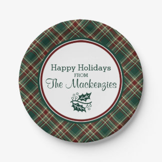 Dark Green Christmas Plaid Personalized 7 Inch Paper Plate