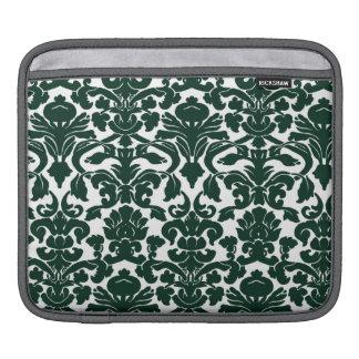 Dark Green Damask Pattern Sleeve For iPads