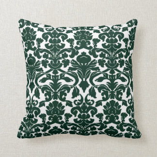 Dark Green Damask Pattern Throw Cushion