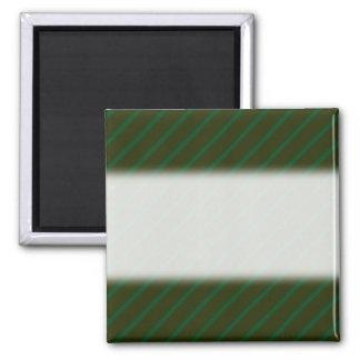 Dark Green Diagonal Striped Pattern. Fridge Magnets
