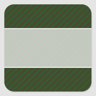 Dark Green Diagonal Striped Pattern. Square Sticker