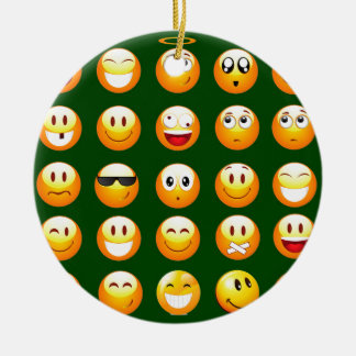 dark green emoji round ceramic decoration