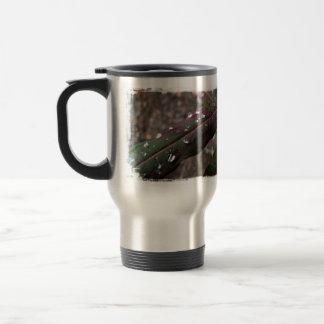 Dark Green Fireweed Leaf with Water Droplets Stainless Steel Travel Mug