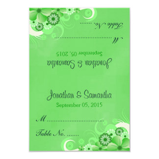 Dark Green Floral Folded Wedding Table Place Cards