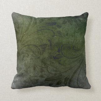 Dark Green Floral Pattern Cushion