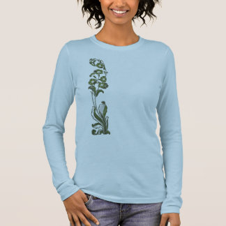Dark Green Flowers (Front and back) Long Sleeve T-Shirt