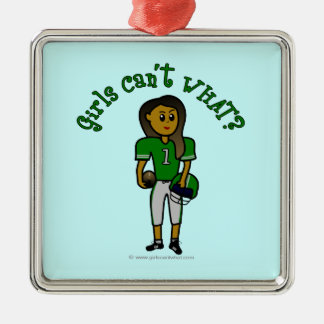 Dark Green Football Christmas Ornament