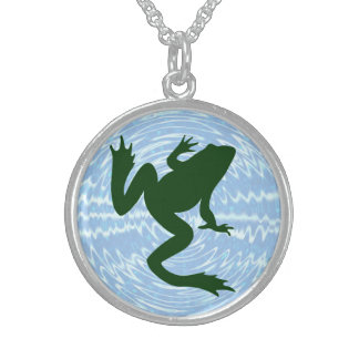 Dark Green Frog Silhouette Water Ripples Round Pendant Necklace