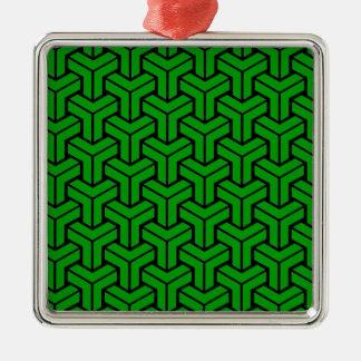 Dark Green Geometric Pattern Silver-Colored Square Decoration