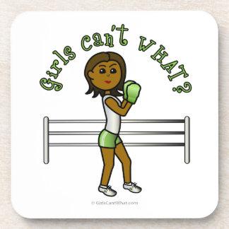 Dark Green Girls Boxing Beverage Coasters