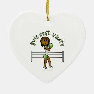 Dark Green Girls Boxing Ornament