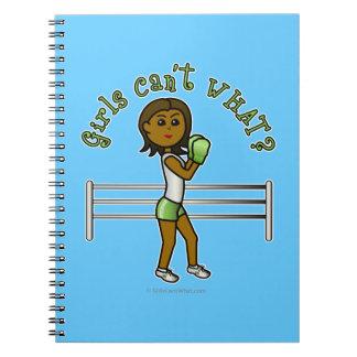 Dark Green Girls Boxing Spiral Note Books
