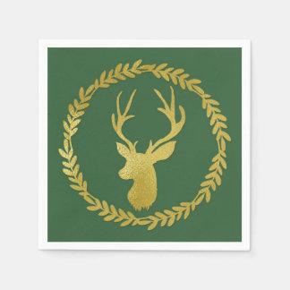 Dark Green Gold Deer Wreath Christmas Napkin Disposable Serviettes
