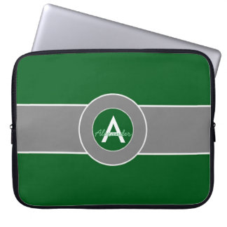 Dark Green Gray Monogram Personalized Laptop Computer Sleeves