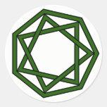 Dark Green Heptagram in Heptagon Stickers