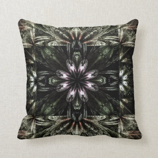 Dark green kaleidoscope print on throw pillow