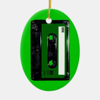Dark Green Label Cassette Ceramic Oval Decoration