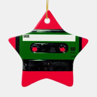 Dark Green Label Cassette Ceramic Star Decoration