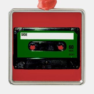 Dark Green Label Cassette Silver-Colored Square Decoration