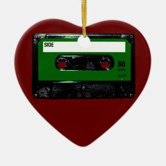 Dark Green Label Cassette Ceramic Heart Decoration