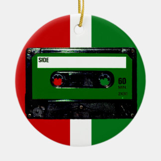 Dark Green Label Cassette Round Ceramic Decoration