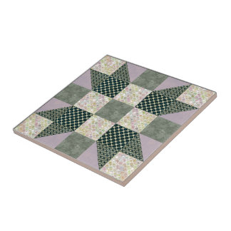 Dark Green & Lavender Star Patch Quilt Square Small Square Tile
