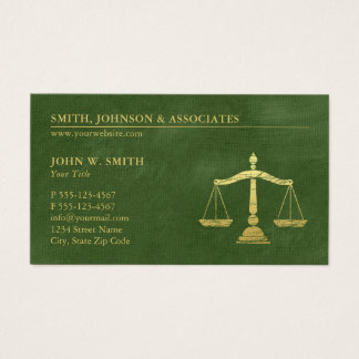Dark Green Lawyer Scales of Justice Appointment Business Card